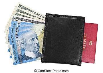ドル, 財布, パスポート