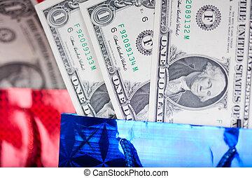ドル, 赤い背景, 贈り物, クリスマス