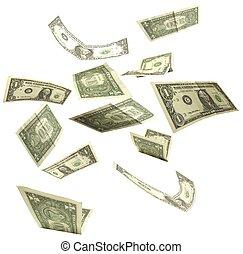 ドル, 隔離された, 2, 背景, 秋, 白