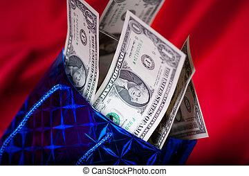 ドル, birthday, 背景, 贈り物, 赤