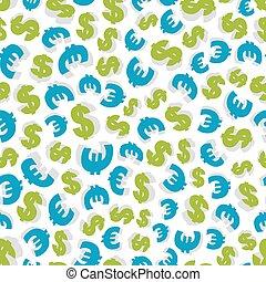 ドル, pattern., seamless, ユーロ