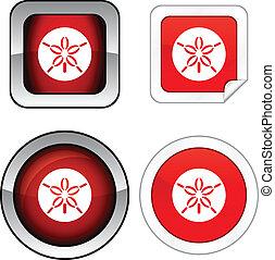ドル, set., 砂, ボタン