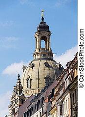 ドレスデン, frauenkirche, 教会, の, 私達の, 女性, 中に, ドレスデン, ドイツ