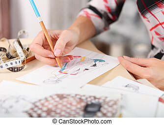 ドレスメーカー, スケッチ, ファッション, 図画