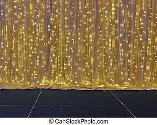 ドレープ, 多数, 黄色灯, 電球, ステージ