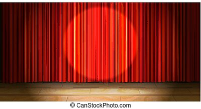 ドレープ, 木製である, ライト, スポット, ベージュ, カーテン, ステージ, ラウンド, 空, 赤