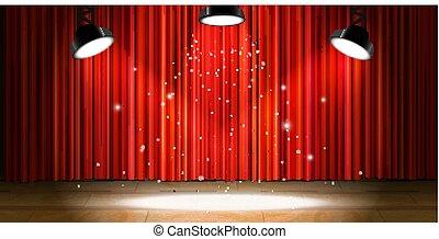 ドレープ, 木製である, ライト, 明るい, ベージュ, カーテン, ステージ, 空, 赤