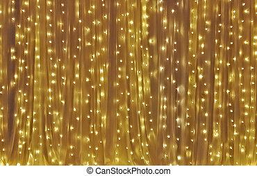 ドレープ, 黄色の背景, 電球, 多数, ライト