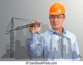 ドロー, スクリーン, サイト, 事実上, 手, 建設, エンジニア