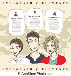 ドロー, 人々, 抽象的, スタイル, 手, infographics