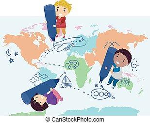 ドロー, 子供, ルート, イラスト, 地図, stickman
