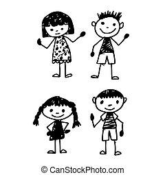ドロー, 手, 漫画, 子供