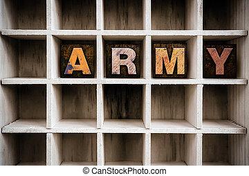 ドロー, 概念, 凸版印刷, 軍隊, 木製である, タイプ