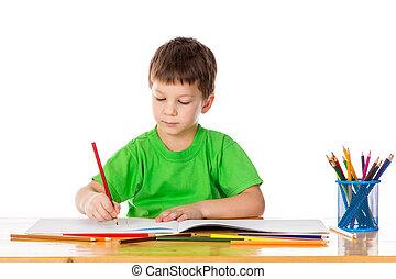 ドロー, 男の子, わずかしか, 鉛筆