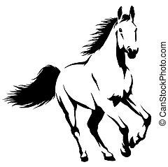 ドロー, 線である, 馬, イラスト, ペンキ, 黒, 白