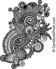 ドロー, 花, 芸術, ウクライナ, スタイル, 手, 伝統的である, 黒, 華やか, 線, 白, design.