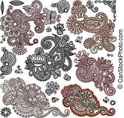 ドロー, 花, 芸術, コレクション, 手, デザイン, 華やか, 線, オリジナル