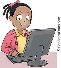 ドロー, 芸術, タブレット, コンピュータ, デジタル, 女の子, 子供