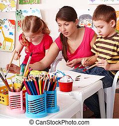 ドロー, 部屋, ペンキ, プレーしなさい, 子供, 教師