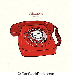 ドロー, 電話, スケッチ, 手, レトロ, vector.