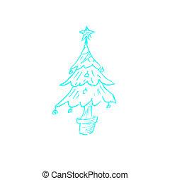ドロー, a, 青, クリスマスツリー, .vector, イラスト