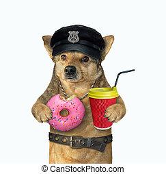 ドーナツ, 犬, 警官, コーヒー