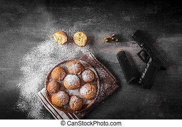 ドーナツ, 銃, 手製, 砂糖