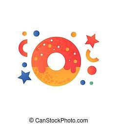 ドーナツ, 食物, 甘い, イラスト, ベクトル, 速い, 背景, 皿, 艶をかけられる, 白