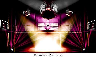 ナイトクラブ, ディスコ, カラフルである, ライト, そして, ディスコボール