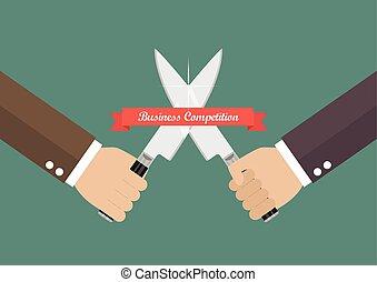 ナイフ, ビジネス, 戦い, 手