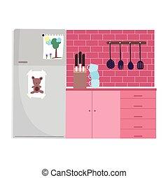 ナイフ, 冷蔵庫, 料理, カップ, 山, cutlery