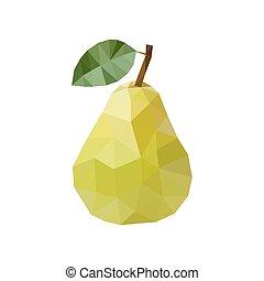 ナシ, イラスト, polygonal, ベクトル, 緑, style.