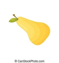 ナシ, 黄色, バックグラウンド。, ベクトル, イラスト, 白, closeup.