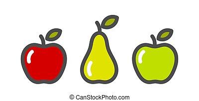 ナシ, icons., フルーツ, 緑のリンゴ, 赤