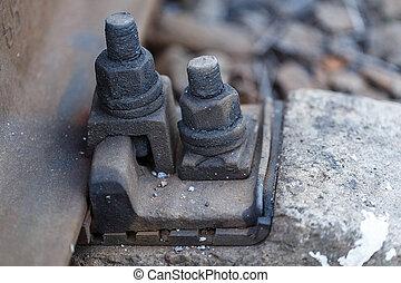 ナット, 柵, 鉄道, 錆ついた, ボルト