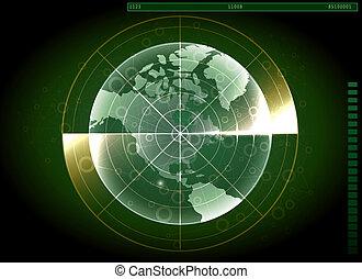 ナビゲーション, システム, レーダー, スクリーン, 世界, 緑, map., design.
