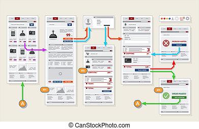 ナビゲーション, フレームワーク, 店, プロトタイプ, 支払い, 店, インターネット, 網, チェックアウト