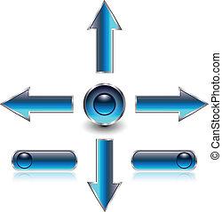 ナビゲーション, 矢, 網, ボタン