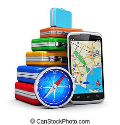 ナビゲーション, gps, 概念, 観光事業, 旅行