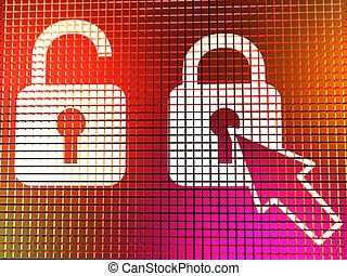 ナンキン錠, アイコン, 上に, コンピュータモニター, ショー, 安全, セキュリティー, そして, 保護される