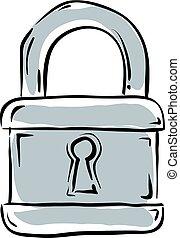 ナンキン錠, 隔離された, 例証された, バックグラウンド。, ベクトル, 白