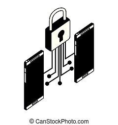 ナンキン錠, smartphones, 電子 回路, 装置