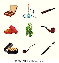 ニコチン, タバコ, 印。, web., コレクション, タバコ, ベクトル, デザイン, シンボル, 株