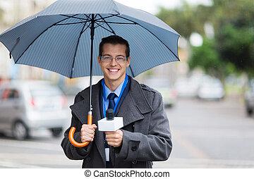 ニュースリポーター, 生きている, 放送, 雨
