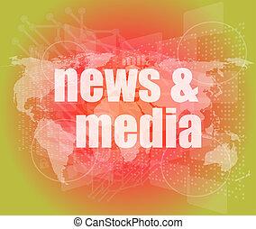 ニュース, そして, 出版物, concept:, 言葉, ニュース, そして, 媒体, 上に, デジタル, スクリーン