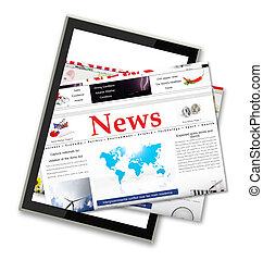 ニュース, コンピュータ, タブレット, デジタル