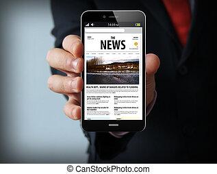 ニュース, ビジネスマン, smartphone