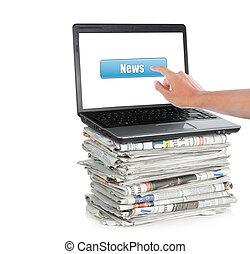 ニュース, 上に, a, ラップトップ・コンピュータ