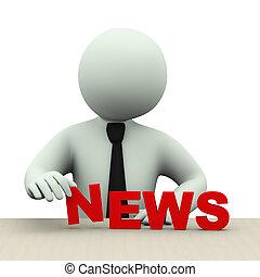 ニュース, 人, 単語, ビジネス, 3d