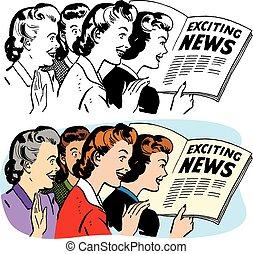 ニュース, 読書, 刺激, 女性